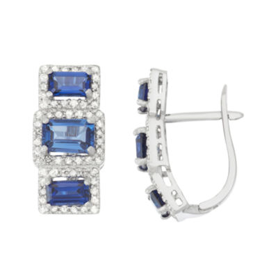 Lab Created Sapphire And 5/8C.T. T.W. Diamond 10K White Gold Earrings