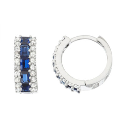 Lab Created Sapphire And 1/2 C.T. T.W.  Diamond 10K White Gold Earrings