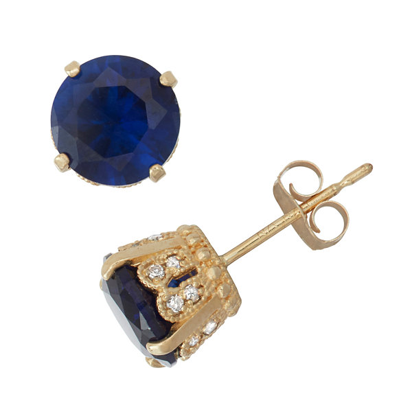 Lab Created Sapphire And 1/6 C.T. T.W.  Diamond 10K Yellow Gold Earrings