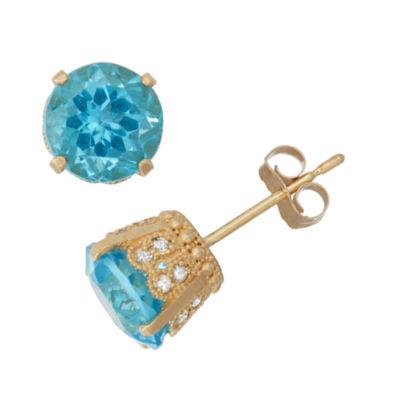 Genuine Swiss Blue Topaz And 1/6 C.T. T.W.Diamond 10K Yellow Gold Earrings