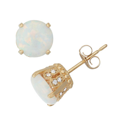 1/6 CT. T.W. Diamond & Simulated White Opal 10K Gold Stud Earrings