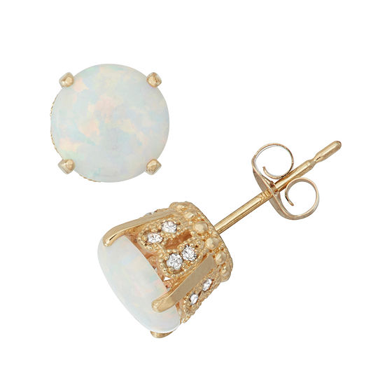 1 6 Ct Tw Diamond Simulated White Opal 10k Gold Stud Earrings