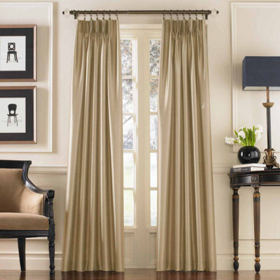 Marquee Faux Silk Pinch-Pleat Back-Tab Curtain Panel