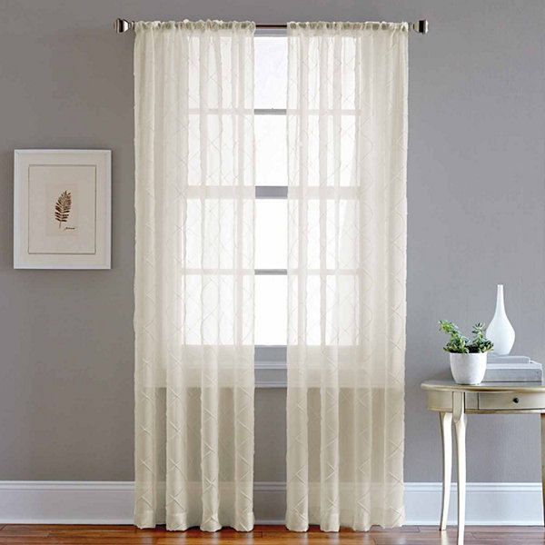 Pintuck Sheer Rod-Pocket Curtain Panel
