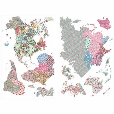 WallPops Boho World Map Giant Wall Art Kit