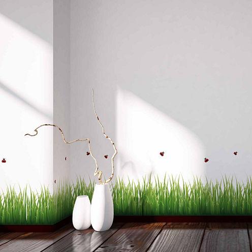 Home Decor Line Grass And Ladybugs Border Decal