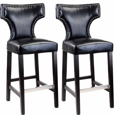 Kings Bar Height Barstool With Metal Studs, Set Of 2