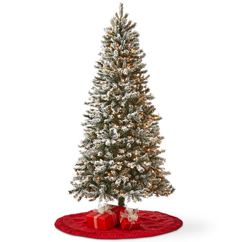 North Pole Trading Co. 7 Foot Raleigh Pre-Lit Flocked Christmas Tree