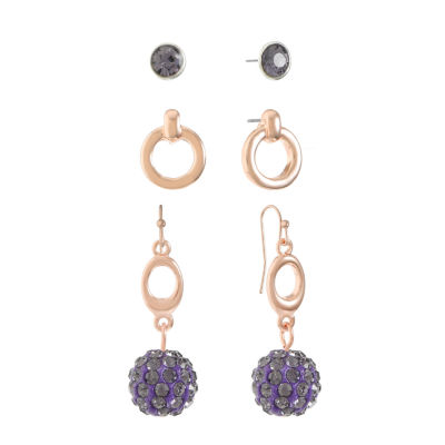 Liz Claiborne Womens 3 Pair Purple Jewelry Set