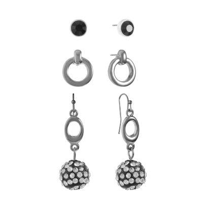 Liz Claiborne Womens 3 Pair Clear Jewelry Set