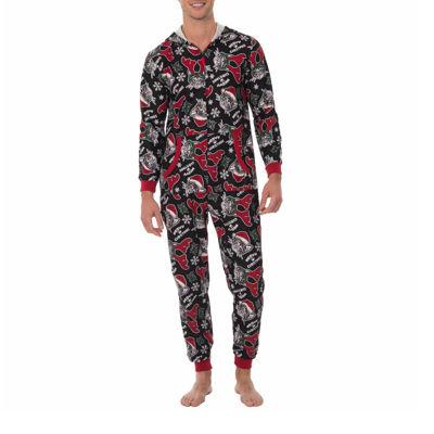 Onesie Fleece One Piece Pajama Meow Christmas- Men's