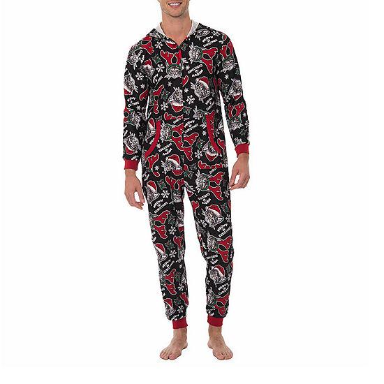 fleece onesies one piece pajama meowy christmas print mens