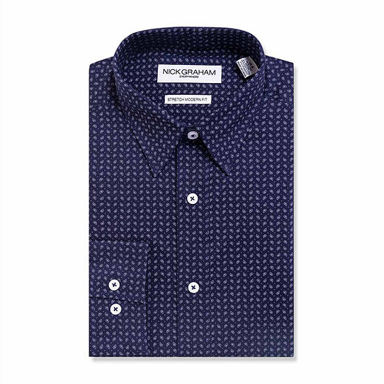 Graham And Co Mens Point Collar Long Sleeve Stretch Dress Shirt