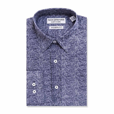 Graham And Co Graham And Co Long Sleeve Dress Shirt Mens Point Collar Long Sleeve Stretch Dress Shirt