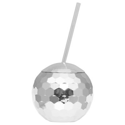 Disco Ball Drink Holder with Straw