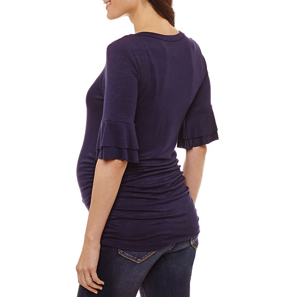 Planet Motherhood Ruffle Sleeve Scoop Neck Tee - Maternity