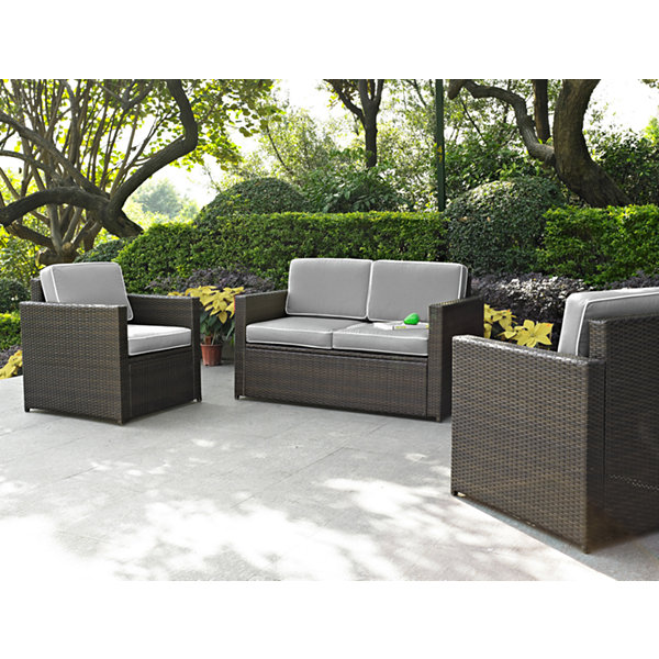 Palm Harbor 3-pc. Wicker Conversation Set With Cushions - Loveseat and Chairs
