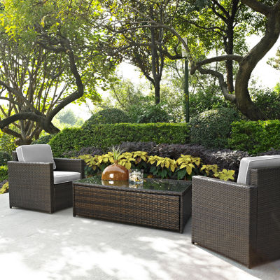 Palm Harbor 3-pc. Wicker Conversation Set With Cushions - Chairs and Glass Top Table