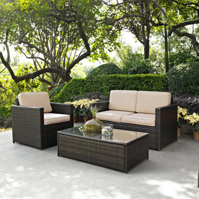Palm Harbor 3-pc. Wicker Conversation Set With Cushions - Loveseat, Chair and Glass Top Table