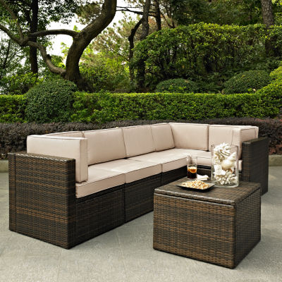 Palm Harbor 6-pc. Wicker Conversation Set With Cushions - Corner Chairs, Center Chairs and Coffee Sectional Table