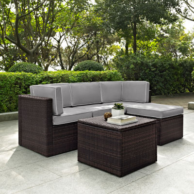 Palm Harbor 5-pc. Wicker Conversation Set With Cushions - Corner Chairs, Center Chair, Ottoman and Coffee Sectional Table
