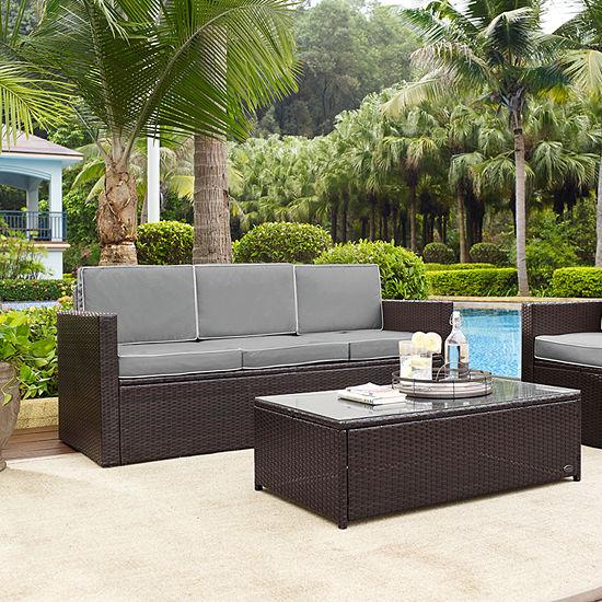 Palm Harbor Wicker Patio Sofa With Cushions