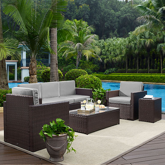Palm Harbor 5-pc. Wicker Patio Sofa Conversation Set With Cushions - Sofa, Arm Chairs, Side Table and Glass Top Table