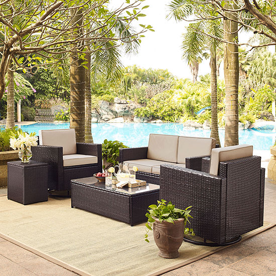 Palm Harbor 5-pc. Wicker Conversation Set With Cushions - Loveseat, Swivel Chairs, Side Table and Glass Top Table