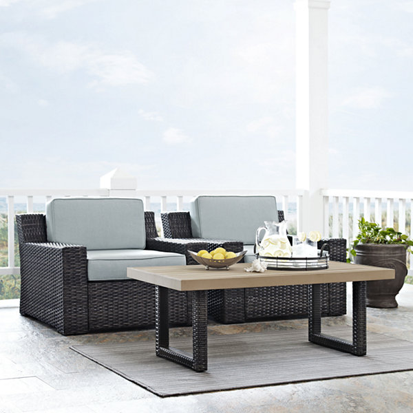 Beaufort 3-pc. Wicker Conversation Set With Cushions - Chairs and Side Table