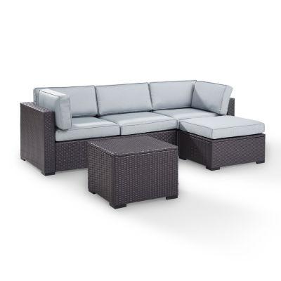Biscayne 4-pc. Wicker Conversation Set - Loveseat, Corner Chair, Ottoman, Coffee Table