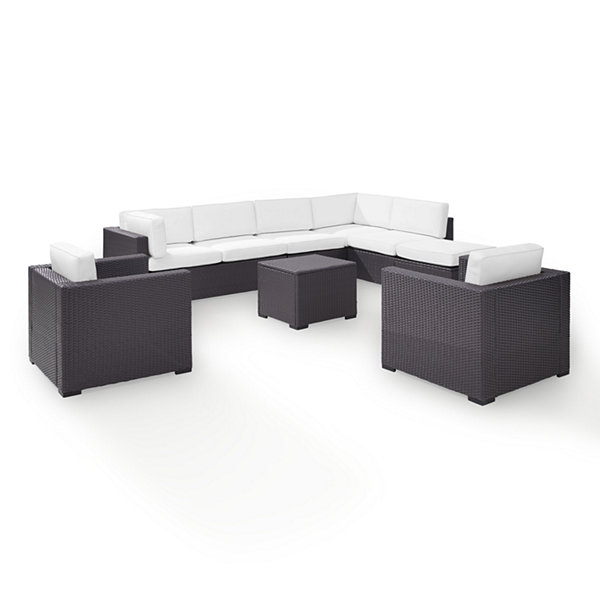 Biscayne 7-pc. Wicker Conversation Set - Loveseats, Arm Chairs, Armless Chair, Coffee Table, Ottoman