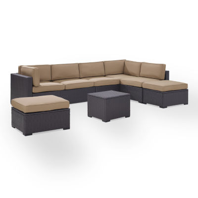 Biscayne 6-pc. Wicker Conversation Set - Loveseats, Armless Chair, Coffee Table, Ottomans