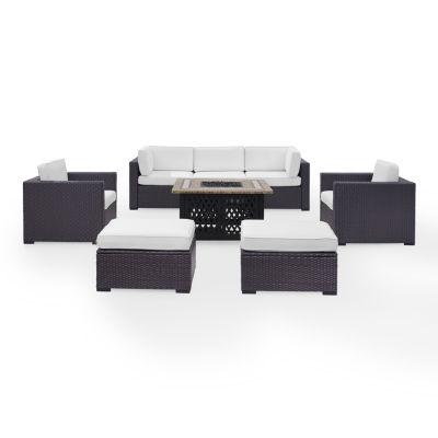 Biscayne 7-pc. Wicker Conversation Set - Loveseat, Corner Chair, Arm Chairs, Ottomans, Tucson Firetable