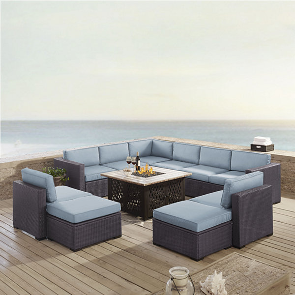 Biscayne 8-pc. Wicker Conversation Set - Loveseats, Armless Chairs, Ottomans, Tucson Firetable