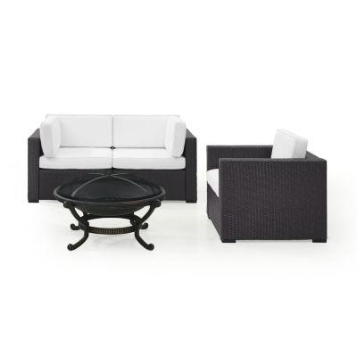 Biscayne 4-pc. Wicker Conversation Set - Corner Chairs, Arm Chair, Ashland Firepit