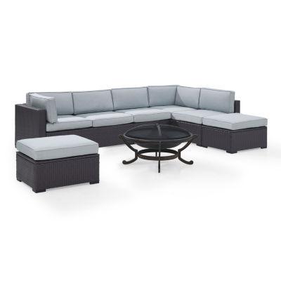 Biscayne 6-pc. Wicker Conversation Set - Loveseats, Armless Chair, Ottomans, Ashland Firepit