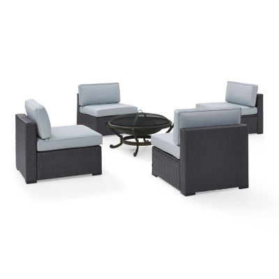 Biscayne 5-pc. Wicker Conversation Set - Center Chairs and Ashland Firepit