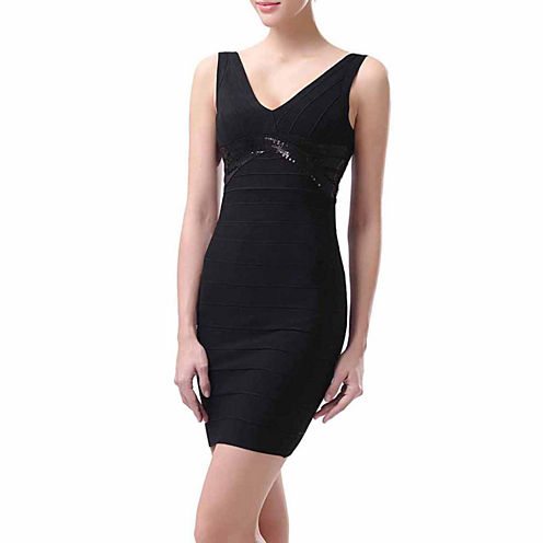 phistic Women's Beaded V-Neck Bandage Dress