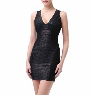 phsitic Women's Deep V-Neck Shimmer Bandage Dress