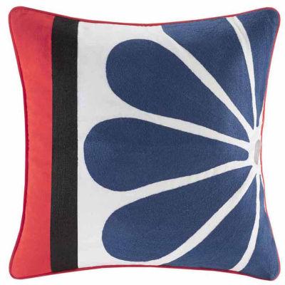 Diamond Geo Embroidery Square Throw Pillow