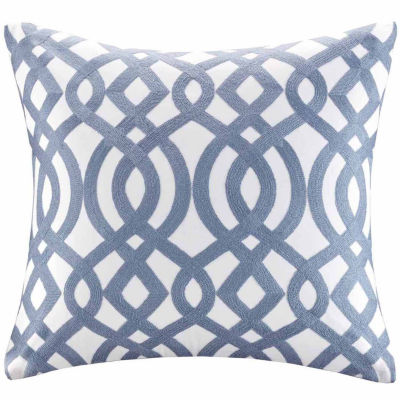 Madison Park Signature Trellis Cotton EmbroideredSquare Throw Pillow