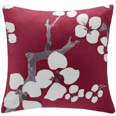 Cherry Blossom Square Throw Pillow