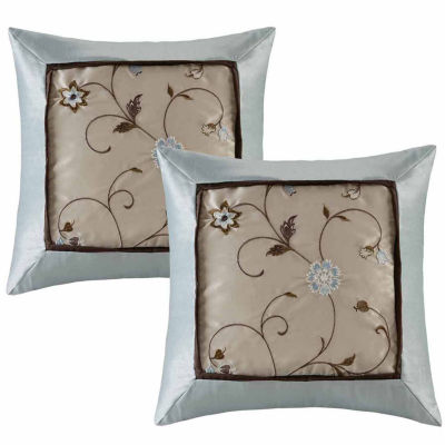 Madison Park Grace Embroidered Throw Pillow Pair