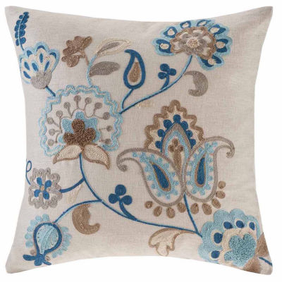 Madison Park Spring Florals Linen Embroidered Throw Pillow
