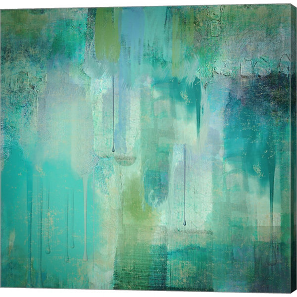 Metaverse Art Aqua Circumstance Gallery Wrapped Canvas Wall Art On Deep Stretch Bars