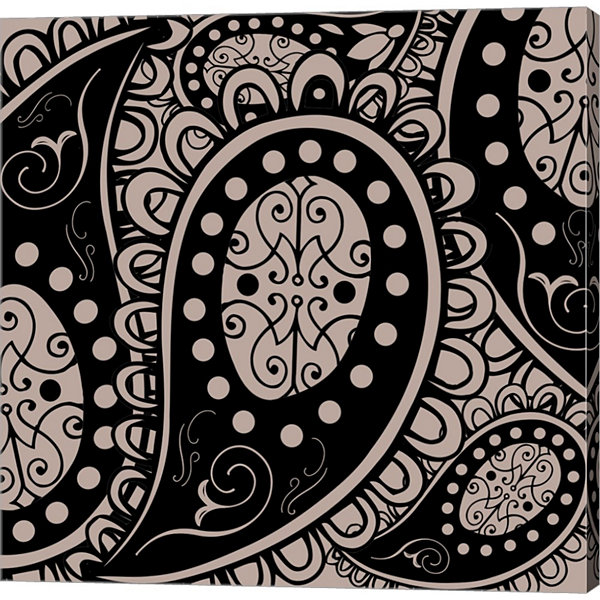 Paisley Party Beige Gallery Wrapped Canvas Wall Art On Deep Stretch Bars