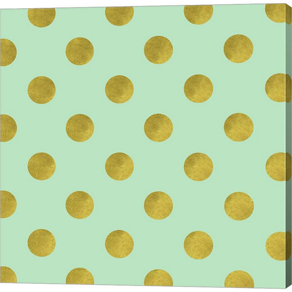 Golden Mint Dots Gallery Wrapped Canvas Wall Art On Deep Stretch Bars