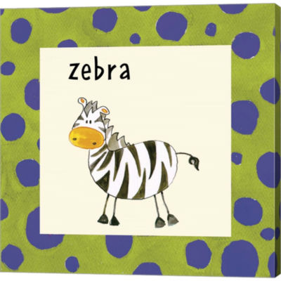 Zebra With Border Gallery Wrapped Canvas Wall Art On Deep Stretch Bars