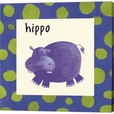 Hippo With Border Gallery Wrapped Canvas Wall Art On Deep Stretch Bars