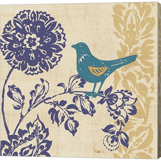 Blue Indigo Bird II Gallery Wrapped Canvas Wall Art On Deep Stretch Bars
